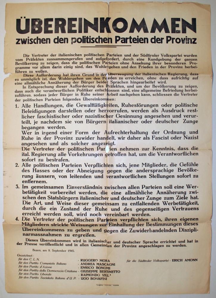 Übereinkommen zwischen den politischen Parteien der Provinz, Bozen/Bolzano, 8.9.1945, Landesmuseum Schloss Tirol