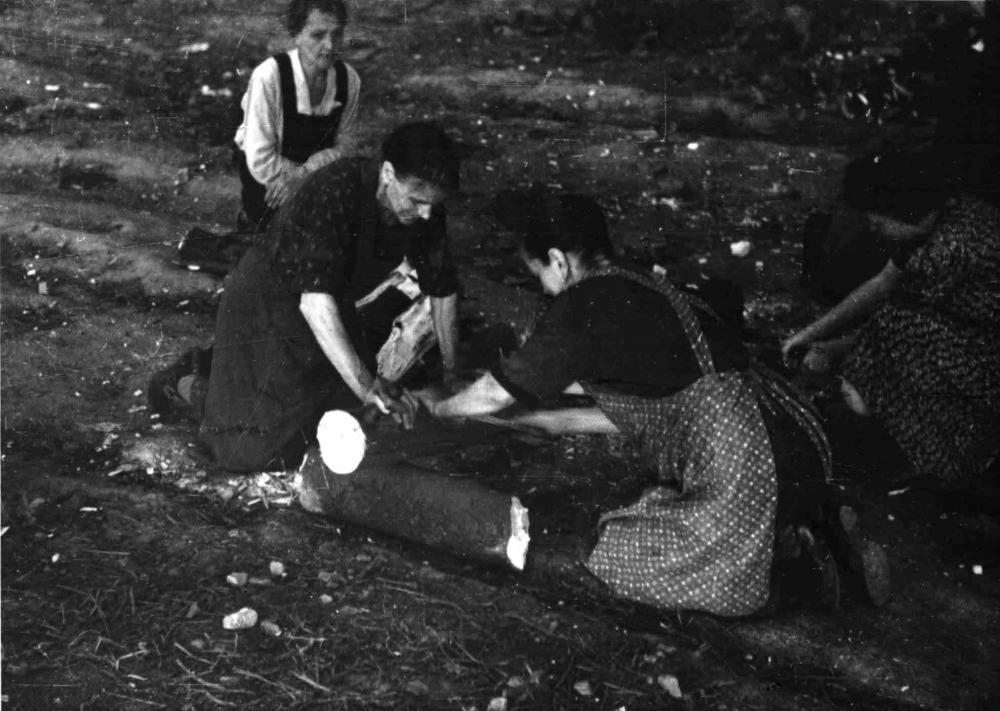 Die schwierige Versorgung der Bevölkerung durch die lange nur auf Krieg ausgerichtete Wirtschaft und durch die Zerstörung war das wichtigste Thema öffentlicher Debatten. Viele Aufnahmen für die Presse wie dieses Foto von Frauen beim Holzsammeln brachten die Nöte plakativ auf den Punkt.