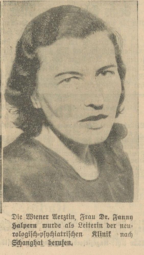 Porträt von Fanny Halpern mit einer Meldung zu ihrer Auswanderung
