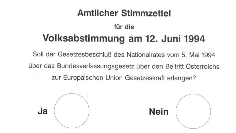 Stimmzettel für die Volksabstimmung zum EU-Beitritt 1994