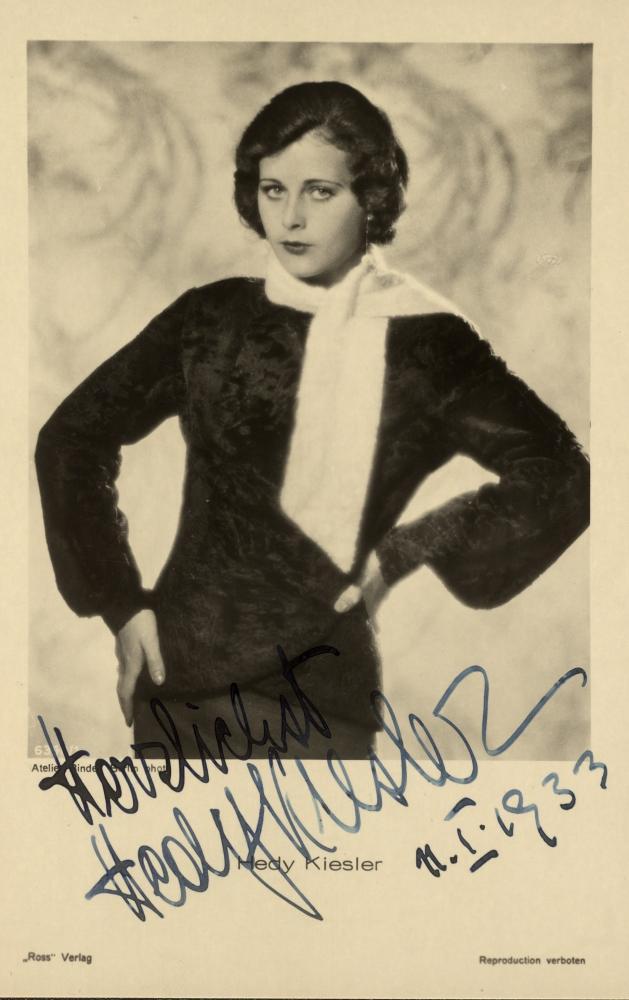 Autogrammkarte von Hedy Kiesler, signiert am 11.1.1933