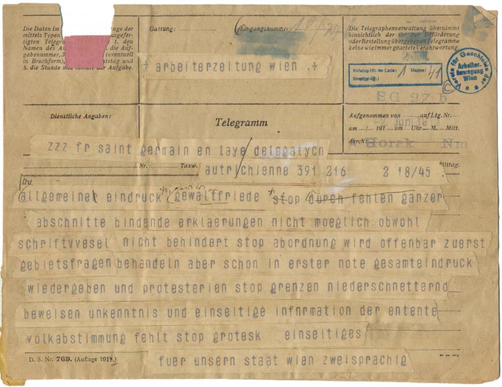 Telegramm des Berichterstatters der Arbeiter-Zeitung nach Wien, Juni 1919