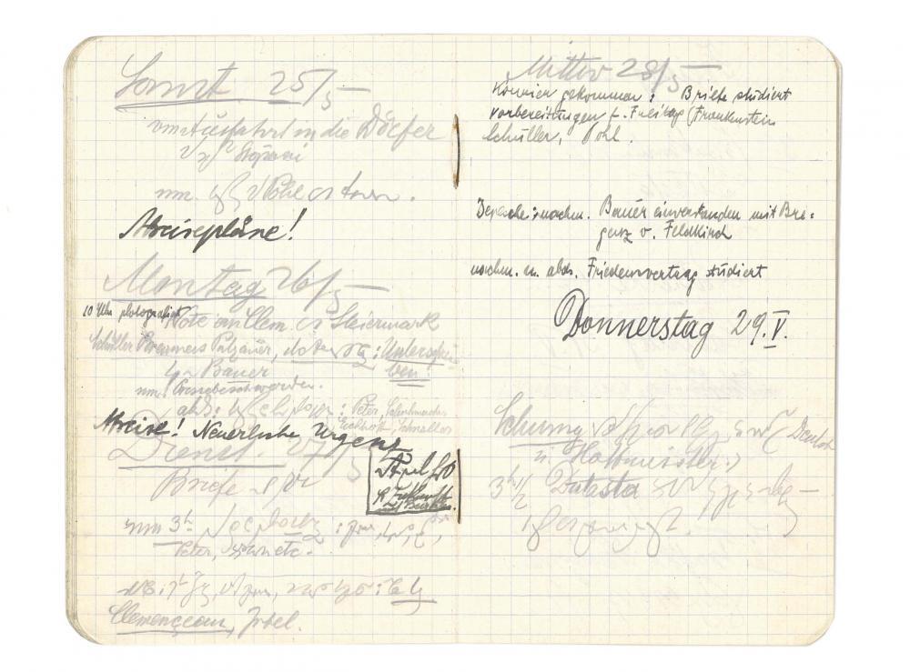 Notizheft von Karl Renner zu den Verhandlungen von St. Germain, 1919