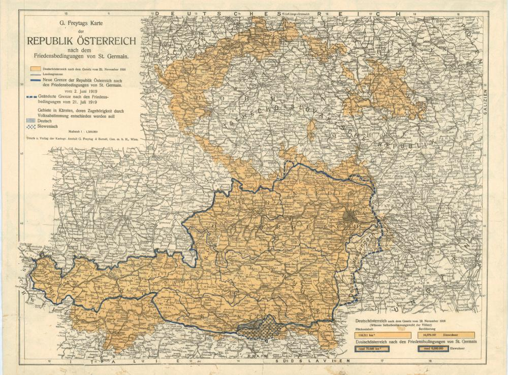 Übersichtskarte der territorialen Friedensbedingungen, Beilage Nr. 15 des Vertrags von Saint-Germain-en-Laye, 10.9.1919