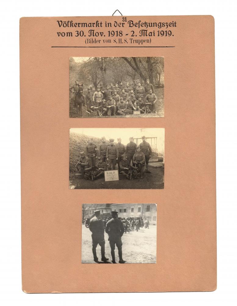 """Aufnahmen von SHS-Truppen gesammelt von Richard Strauss, geb. 1897, Völkermarkt, für die """"Sammlung Kärntner-Volksabstimmung 1919–1920"""""""
