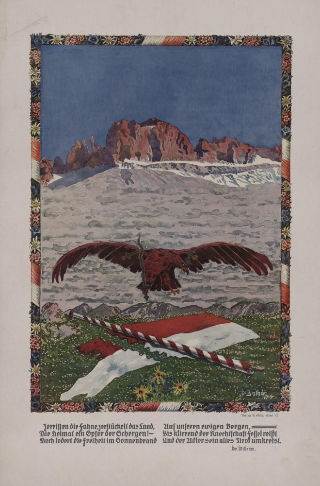 """""""Zerrissen die Fahne, zerstückelt das Land"""", Plakat mit Gedicht des deutschtümelnden Dichters Bruder Willram, um 1920"""