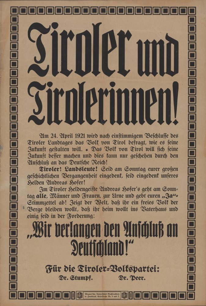 """Wir verlangen den Anschluß an Deutschland"", Plakat, 1921"