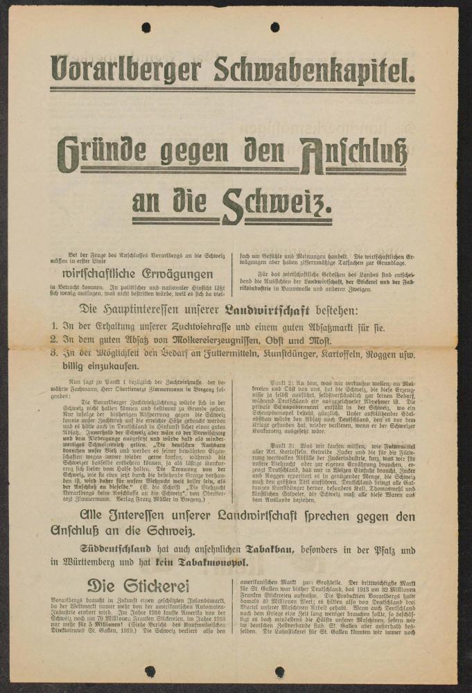 """Flugblatt des Vereins """"Schwabenkapitel"""" für einen Anschluss Vorarlbergs an Süddeutschland, undatiert (1919)"""
