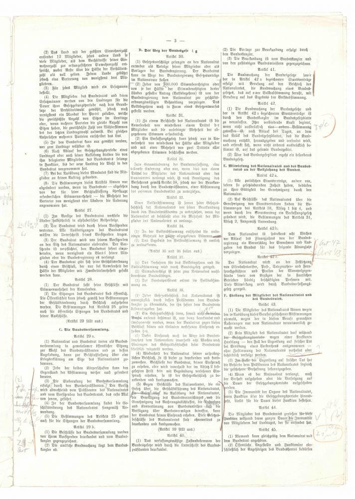 Entwurf für das Bundesverfassungsgesetz, Herausgeber: Unterausschuss des Verfassungsausschusses, mit Korrekturen, Sommer 1920