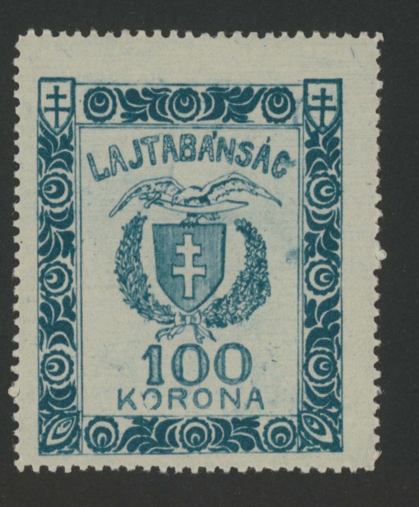 Briefmarke der Republik Lajtabánság/Leithabanat mit dem Wappen des Lajtabánság/Leithabanats, 1921.  Obwohl die Republik Lajtabánság/Leithabanat nur sehr kurz Bestand hatte, wurden sogar eigene Briefmarken gedruckt und ein Wappen gezeichnet, um den territorialen Anspruch zu untermauern.