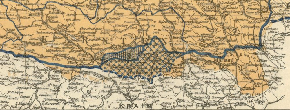 Übersichtskarte der territorialen Friedensbedingungen, Beilage Nr. 15 des Vertrags von Saint-Germain-en-Laye, Ausschnitt: Abstimmungszonen Kärnten, 10.9.1919.  Hier sind die beiden Zonen der Volksabstimmung in Kärnten - Zone A und Zone B - markiert. Hätten sich die WählerInnen in der südlicheren Zone A für den SHS-Staat entschieden, wäre auch in der nördlichen Zone rund um Klagenfurt eine Volksabstimmung abgehalten worden.