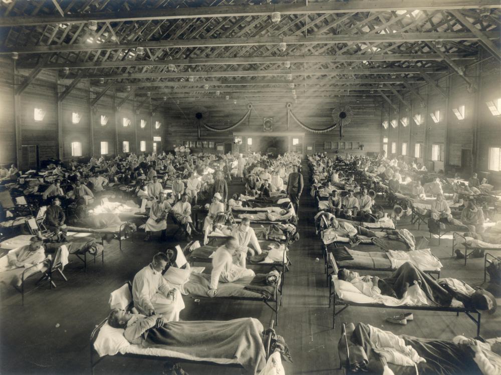 Notkrankenhaus für infizierte US-Soldaten, Camp Funston, Kansas, USA, 1918.