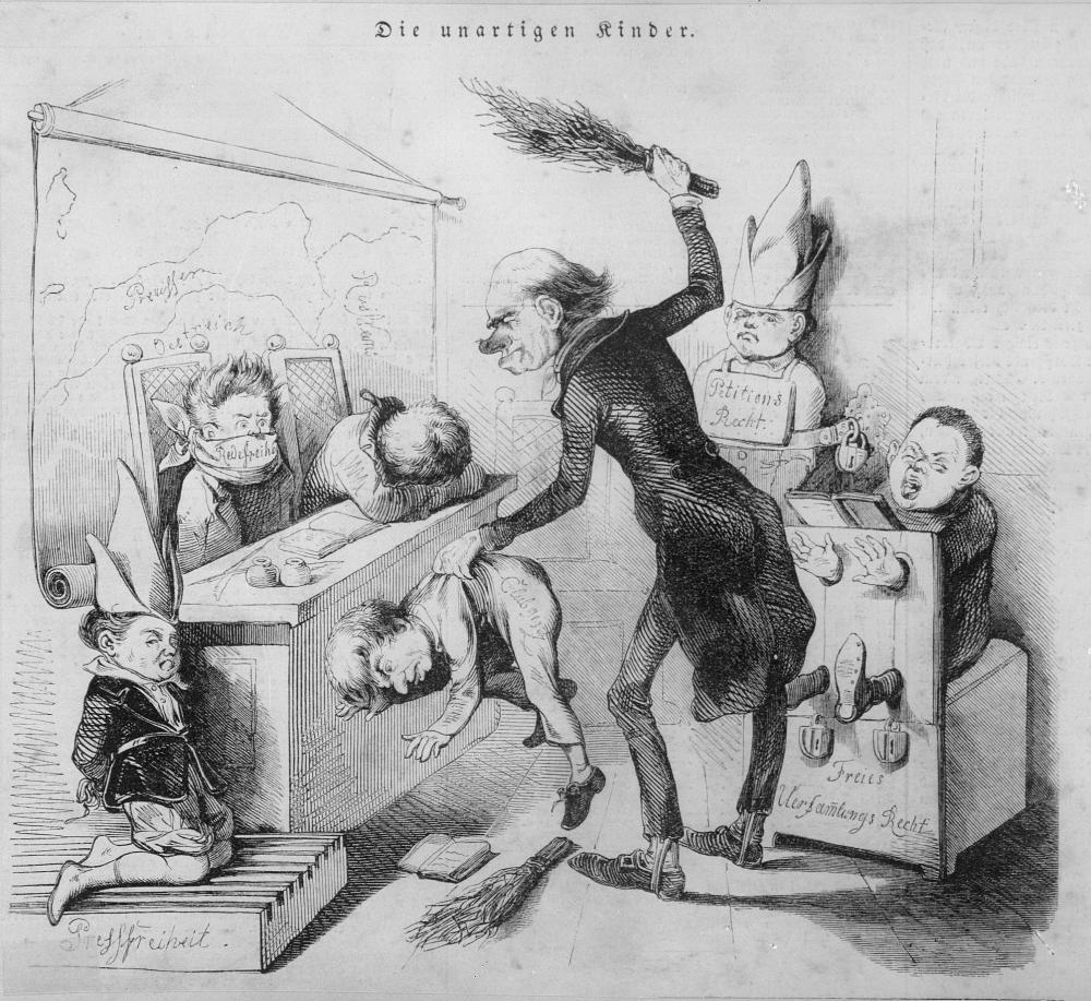 Eine Karikatur auf die Einschränkung der Grundrechte zu Mitte des 19. Jahrhunderts in Preußen und Österreich –genannt werden von links nach rechts die Pressefreiheit, das Clubgesetz, die Redefreiheit, das Petitionsrecht und das freie Versammlungsrecht.