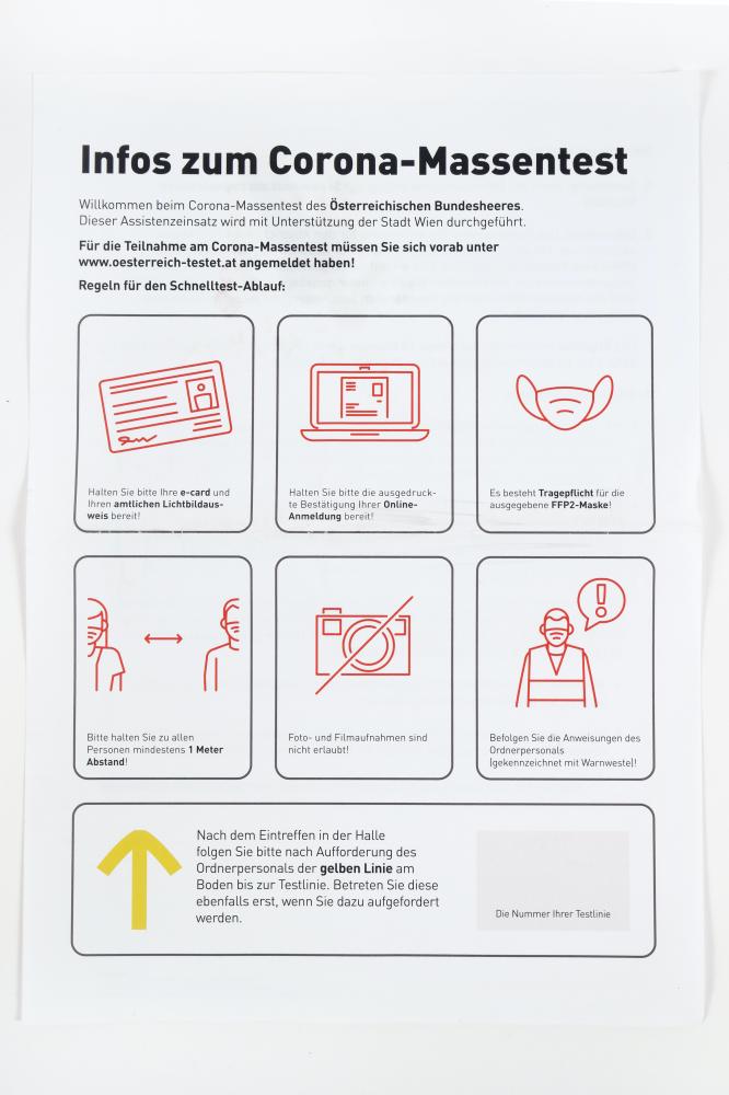 Information zu den Antigen-Massentest in der Wiener Stadthalle, Dezember 2020