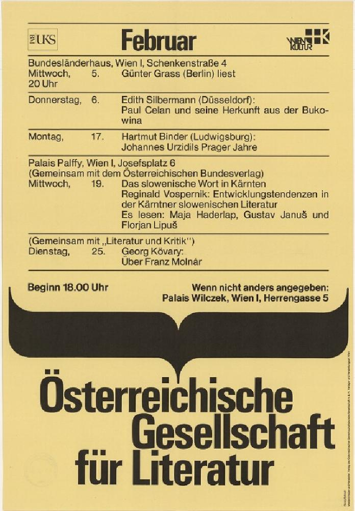 Plakat der Österreichischen Gesellschaft für Literatur mit einem Veranstaltungskalender für den Februar 1986